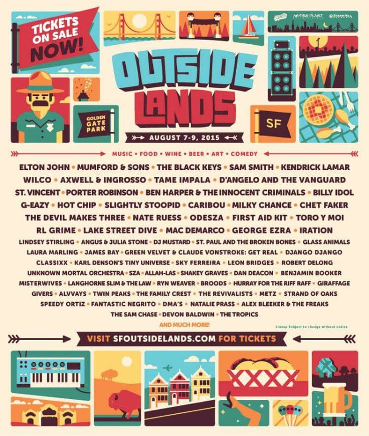 Outside Lands Music Festival Reveals 2015 Lineup with Elton John, Sam Smith, Kendrick Lamar and More - https://magazine.dashburst.com/infographic/outside-lands-festival-2015-lineup/