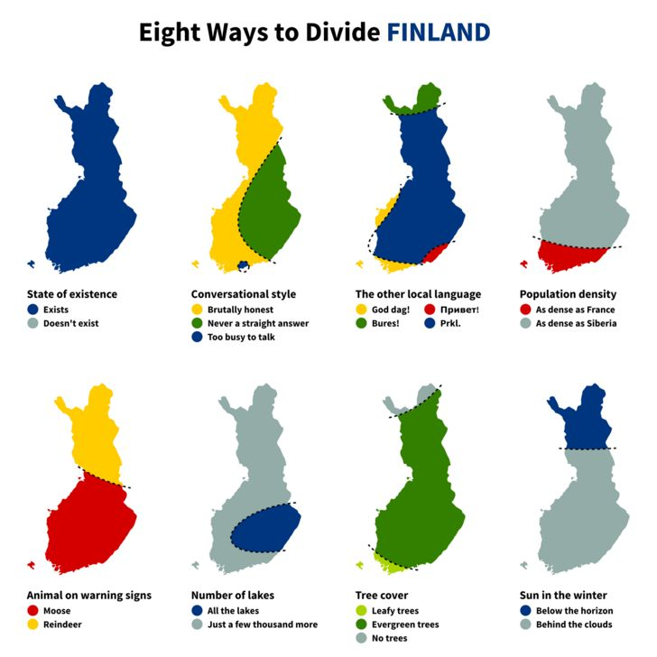 [Map] Eight Ways to Divide Finland