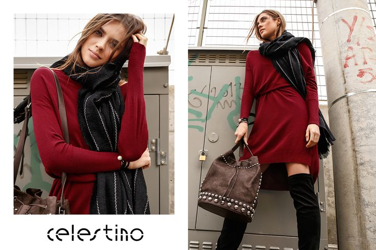 """Sweater dress: the most comfortable and """"convenient"""" trend of the season 😉 #Celestino #ootd #fashion #trends #newin #sweater #dress #winterwear #FW1718 #fashiongirl #fashionista #stylish #streetstyle #handbags"""
