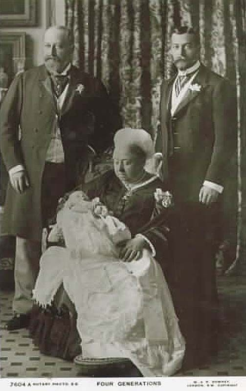 Queen Victoria, holding her great grandson, later King George VI, father to Her Majesty, Queen Elizabeth. Standing are, the baby's grandfather, the Prince of Wales (later Edward VII) and his father, Prince George (later George V).