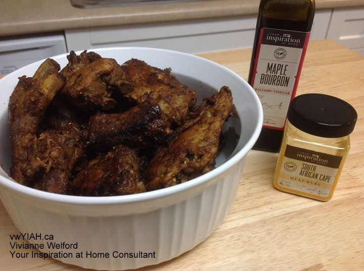 Boil the ribs then marinade in Your Inspiration at Home Maple Bourbon Balsamic Vinegar and YIAH South African Meat Rub and olive oil. Then BBQ or bake.