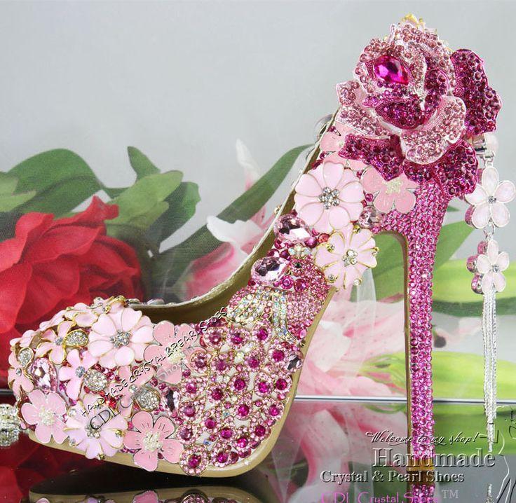 new handmade luxury Womens hot pink fuchsia high-heeled rhinestone flower wedding bridal shoes online $298.30