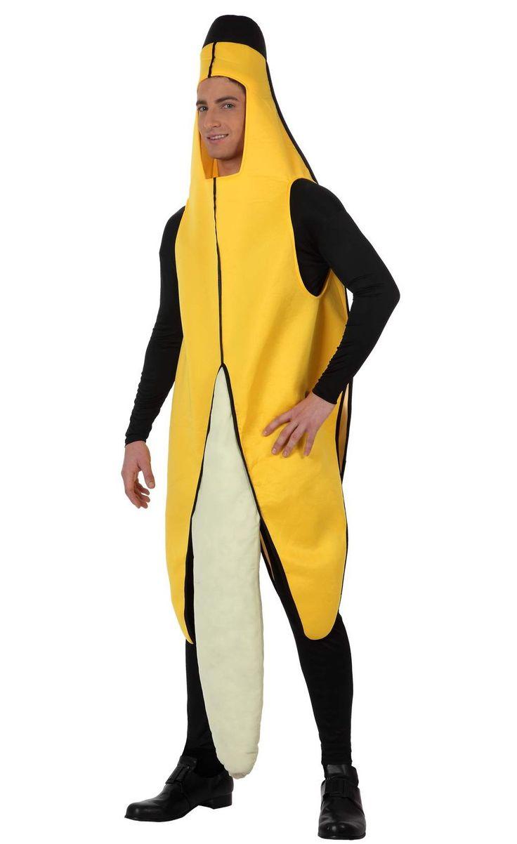 Bananen-Kostüm für Erwachsene: Dieses Bananenkostüm für Erwachsene besteht aus einem Anzug aus weichem Schaumstoff, der die Schale der Frucht darstellt, und der ausgepolsterten Frucht, die vorne angenäht ist (T-Shirt, Hose und...