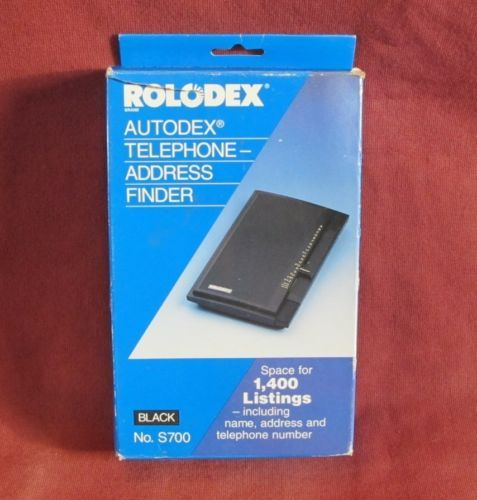 Rolodex Autodex Telephone Address Finder Black No. S700 1400 Listings in Box Vtg