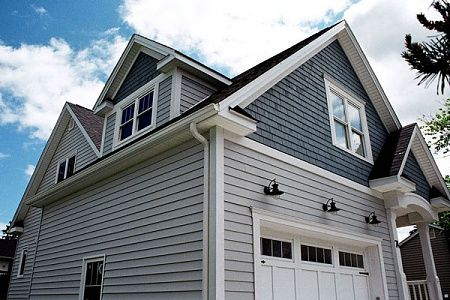 Darker grey cedar shakes on the gables mixed with for Horizontal cedar siding