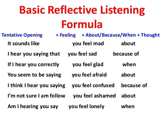 Reflective listening formula - skills for communicating with those who have anxiety