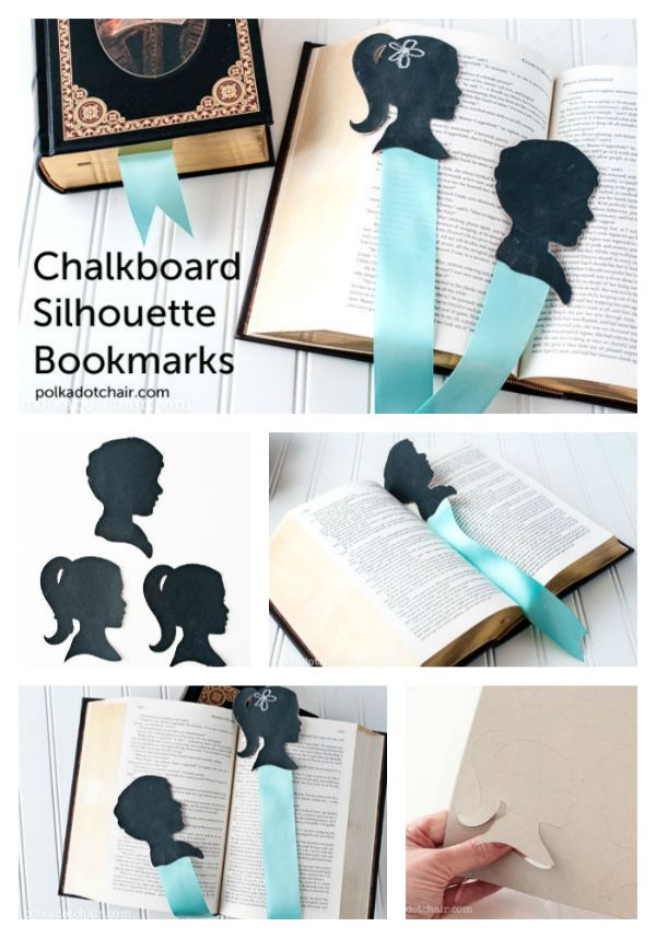 DIY Silhouette Bookmarks - great gift for Mom! i might attach a clip to the back - my current bookmark falls out of the book because its heavy : (
