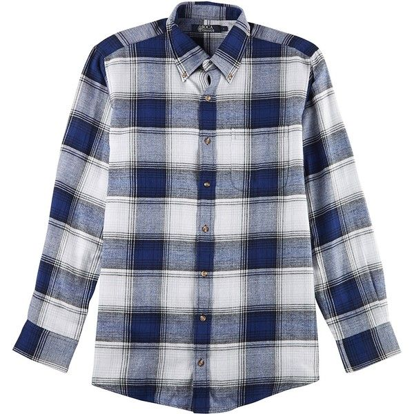 Boca Classics Mens Blue Depths Plaid Flannel Shirt ($12) ❤ liked on Polyvore featuring men's fashion, men's clothing, men's shirts, men's casual shirts, mens tartan shirt, mens plaid button up shirts, mens plaid shirts, mens flannel shirts and mens button up shirts