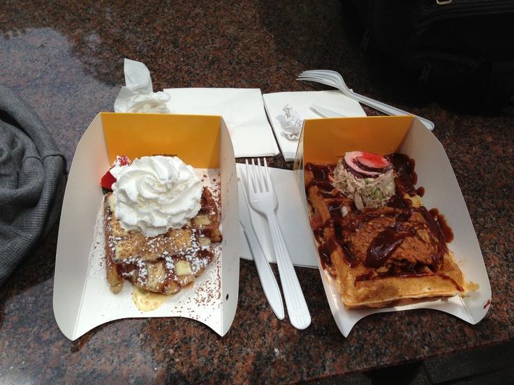 Tiramisu waffle and pulled pork bbq waffle with a koolickle! (Kool aid ...