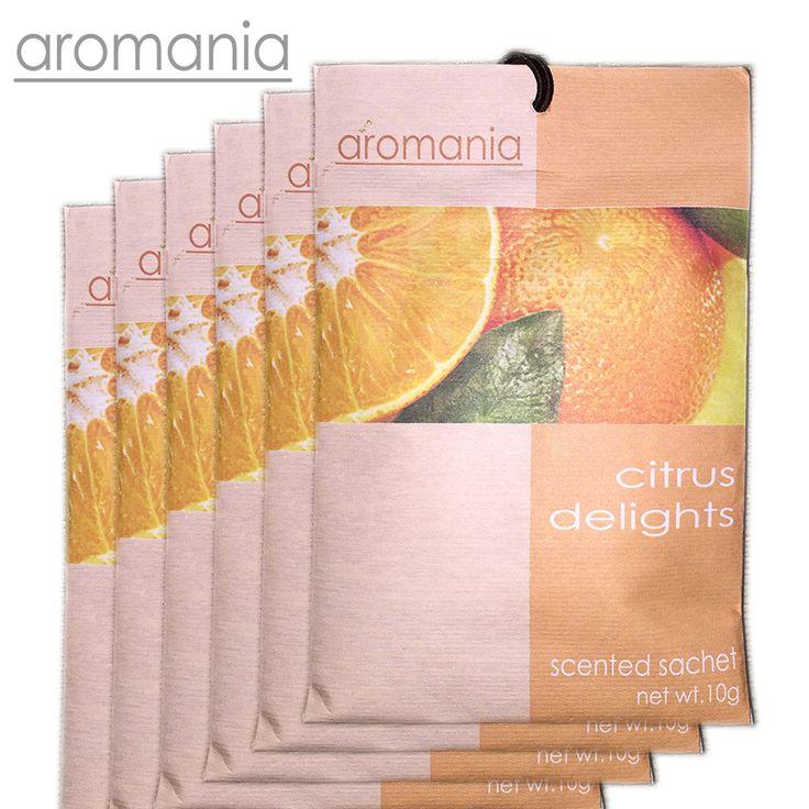 6PCS/lot Aromania Fresh Citrus Delight Orange Scented Sachet Fragrance Drawer Sachet Bag For Bedroom Car Flavor Fragrance Indian