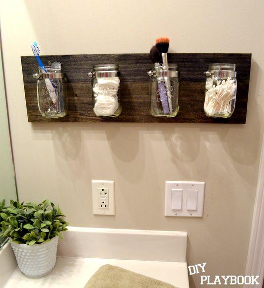 """""""Mason jar bathroom organizer"""" paint the wood my bathroom accent colour"""
