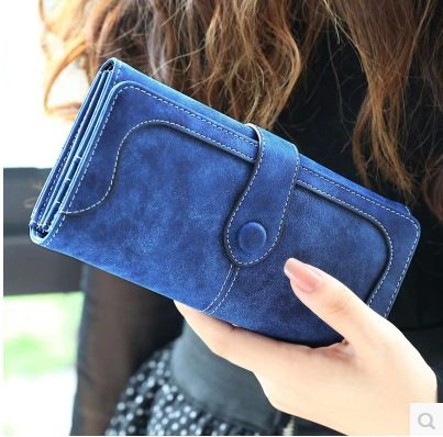 2015 New Fashion Women  Wallet Matte Stitching Women Long Brand Purse Clutch 9 Colour Handbag Wristlet  freeshipping