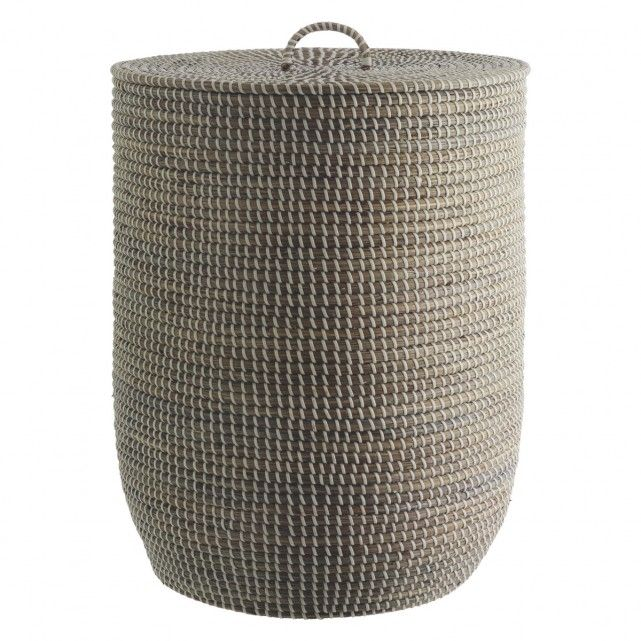 MORRIS Grey woven laundry basket with lid
