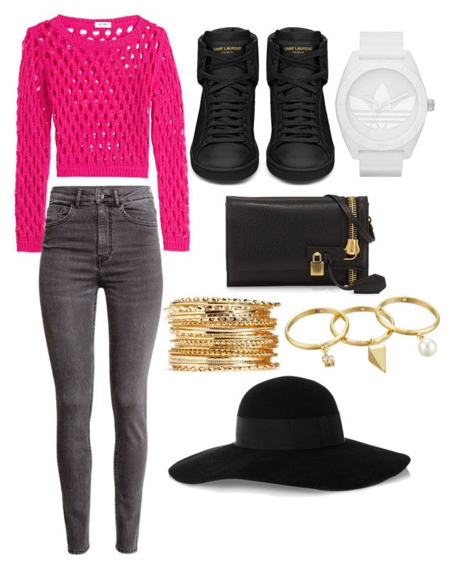 """""""Casual"""" by hannahlee01 on Polyvore featuring Moschino Cheap & Chic, H&M, Yves Saint Laurent, adidas, Tom Ford, Rebecca Minkoff and Eugenia Kim"""