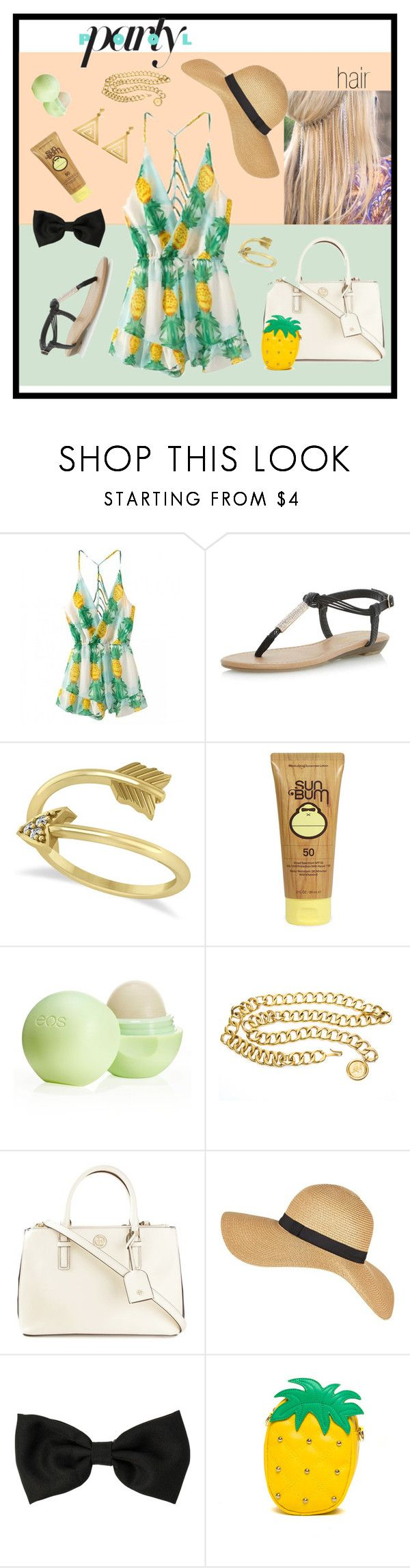 """Pineapple Themed Pool Party"" by kokiorose ❤ liked on Polyvore featuring Dorothy Perkins, Allurez, Sun Bum, Eos, Chanel, Tory Burch, ChloBo, women's clothing, women and female"