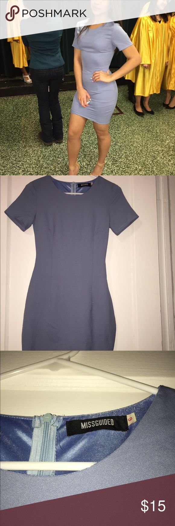 Misguided blue mini dress U.K. 6 = US 2! This blue dress is very form fitting, and has a lining so that it is not see through. Worn once. Missguided Dresses Mini