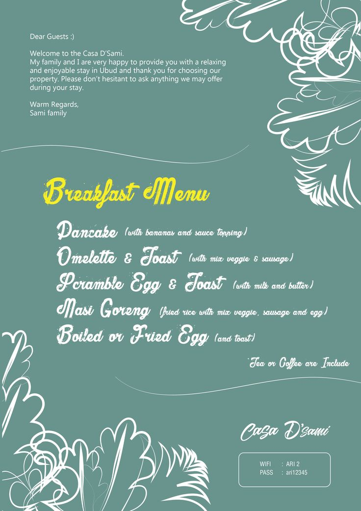 menu and welcome greating