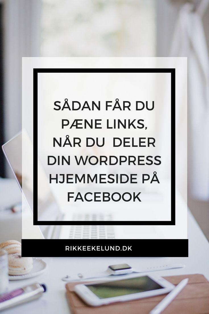 Ser det underligt ud, når du deler et link fra din WordPress-hjemmeside på Facebook? Måske mangler der et billede, måske vises et helt forkert billede, eller måske vises en del af dit logo. Det er der råd for. Dette blogindlæg forklarer, hvordan du bestemmer, hvilket billede, titel og beskrivelse, der skal vises. #Contentmarketing #Blogging #Hjemmeside #WordPress #Facebook