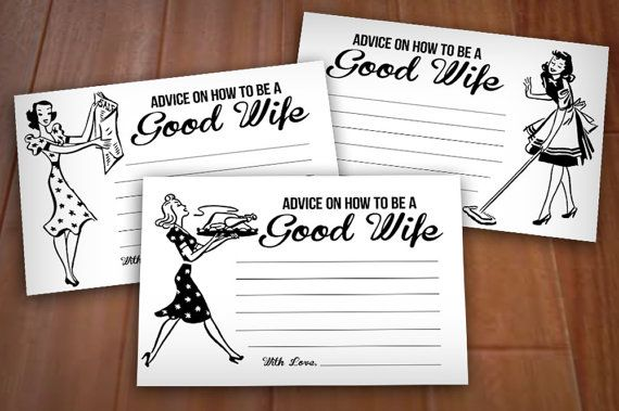 RETRO 50's HOUSEWIFE 4X6 Advice Cards for Bridal Showers!