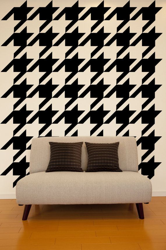 Wall Decal Geometric Houndstooth Wall Pattern by WallStarGraphics, $150.00: Wall Patterns, Geometric Houndstooth, Wall Decals, Chic Patterns, Decals Geometric, Houndstooth Wall, Abstract Textiles, Classic Decor, Accent Wall