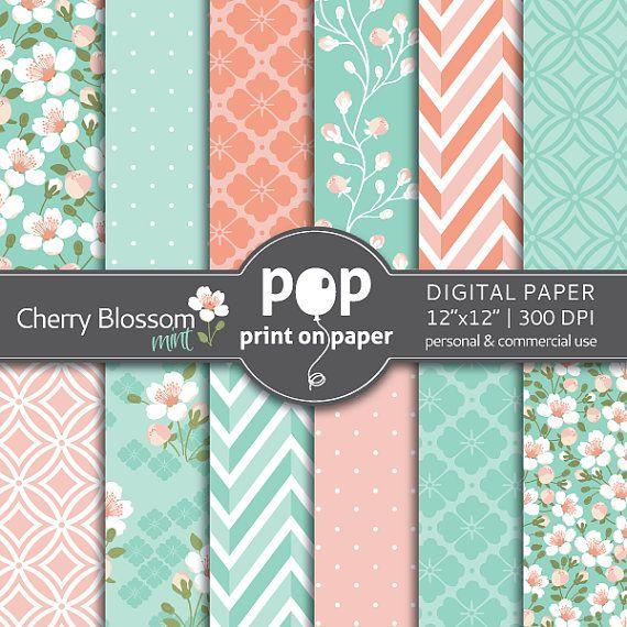 Floral digital paper Cherry Blossom Mint & Peach digital paper, Wedding digital…