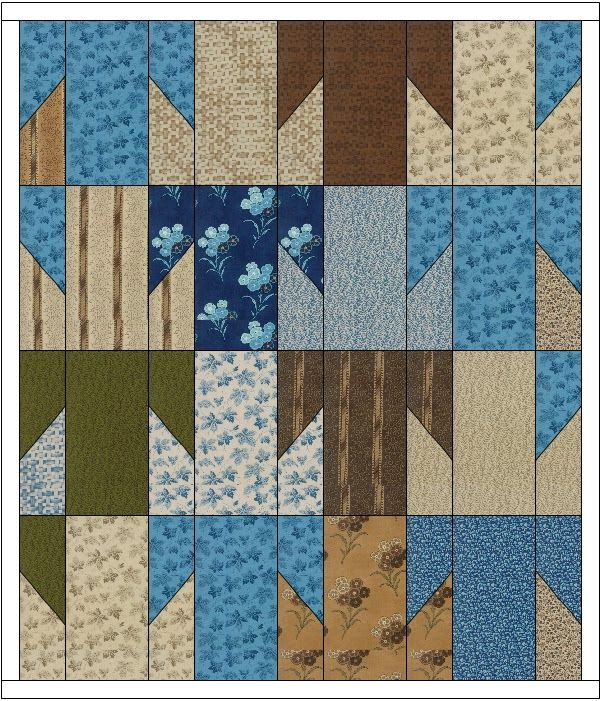 Tessellating T block quilt from about 1900