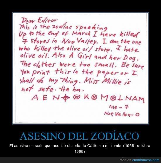 ASESINO DEL ZODÍACO - El asesino en serie que acechó el norte de California (diciembre 1968- octubre 1969)