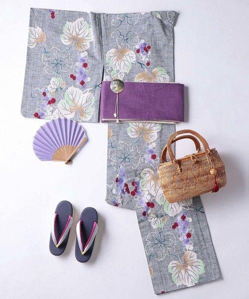 kimono(キモノ)の「<竺仙(ちくせん)>紬地 葡萄 浴衣(着物/浴衣)」|その他1
