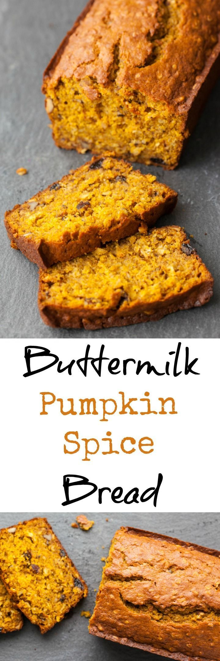 The BEST moist and healthy buttermilk pumpkin spice bread recipe that is packed with both flavor and nutrition!   pinchmysalt.com