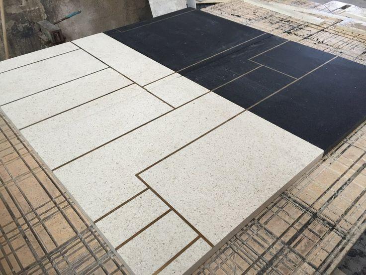 Custom made #terrazzo 1x1 meter #slabs with #brass insert. #customfloor #graniglia #ottone #inserti