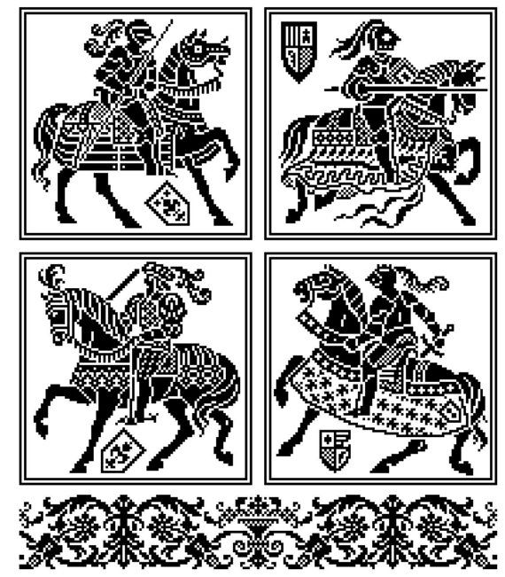 Les chevalier . Pattern for filet crochet, cross stitch. Instant download