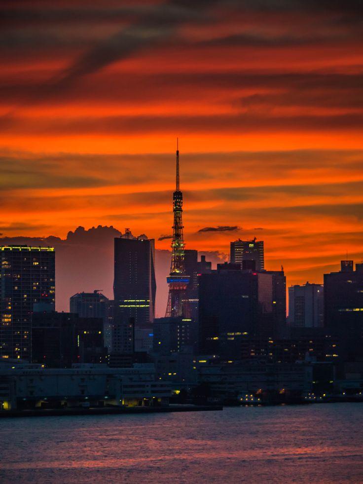 妖々しく空を染める夕焼けに覆われた東京タワーと芝浦方面の高層ビル群 #写真 #Tokyo                                                                                                                                                                                 もっと見る