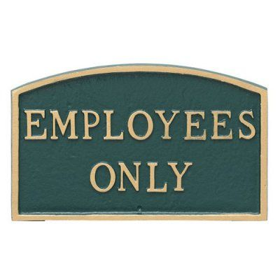 Montague Metal Products Employees Only Arched Wall Plaque - SP-31L-HGG