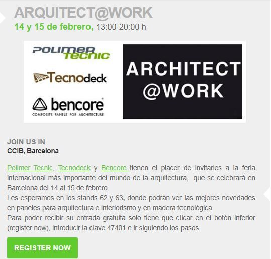 Invitación Polimer Tecnic Arquitect@work BCN 18