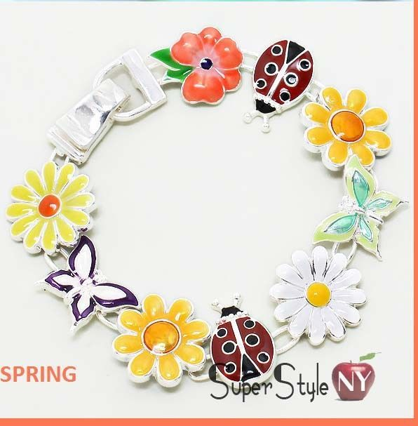 Magnetic Closure Spring Summer Flower Butterfly Ladybug Charm Chain Bracelet #FashionCollection #Chain