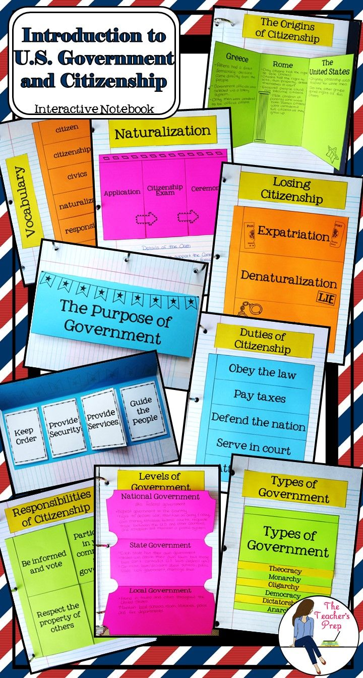 These 9 interactive notebook graphic organizers will help students organize information about the study of U.S. citizenship and gain an introduction to U.S. government!  (There's even an answer key included for teachers!!)