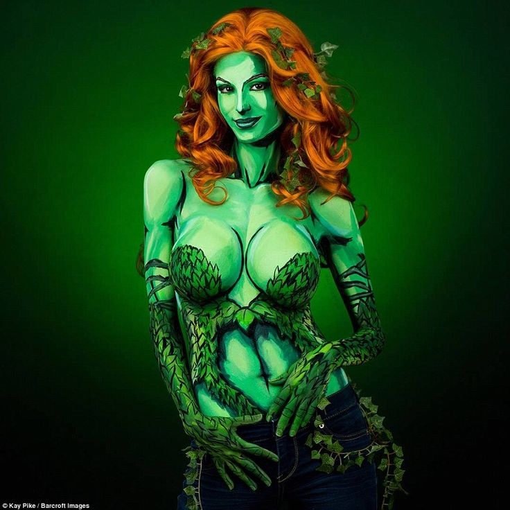Previously a fan of dressing up for cosplay events, Kay, as Poisin Ivy, above, discovered she could put her artistic skills to use in transforming her appearance