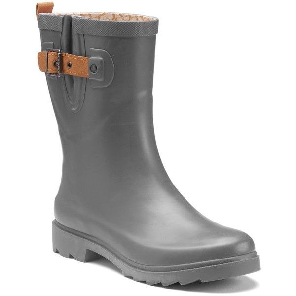 Chooka Solid Women's Waterproof Rain Boots ($75) ❤ liked on Polyvore featuring shoes, boots, grey, print rain boots, waterproof wellington boots, wellies boots, grey boots and wellington boots