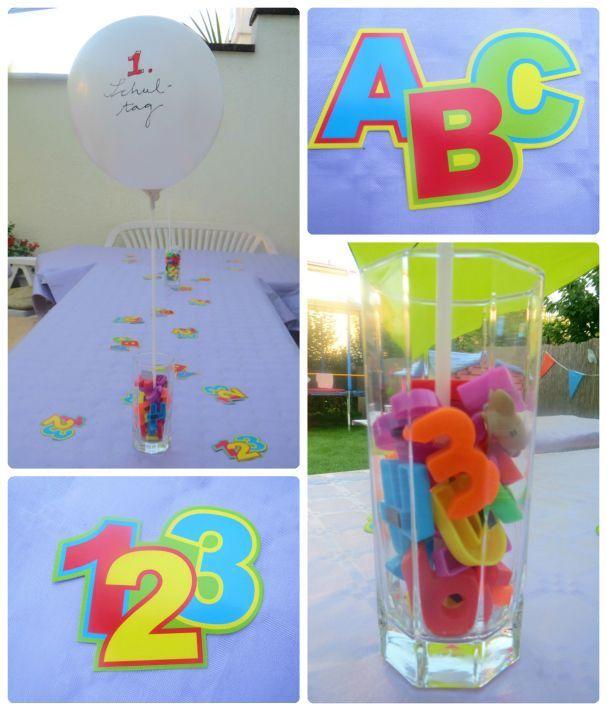 Deko zum 1. Schultag, Dekoration zur Einschulung, Magnetbuchstaben, Luftballon, ABC, 123 fraukskleinewelt