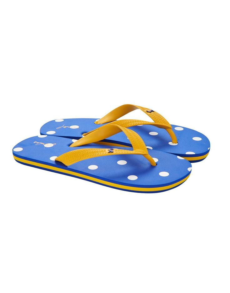 Joules Girls Flip Flops, Blue Spot It Goes Without Saying -8744