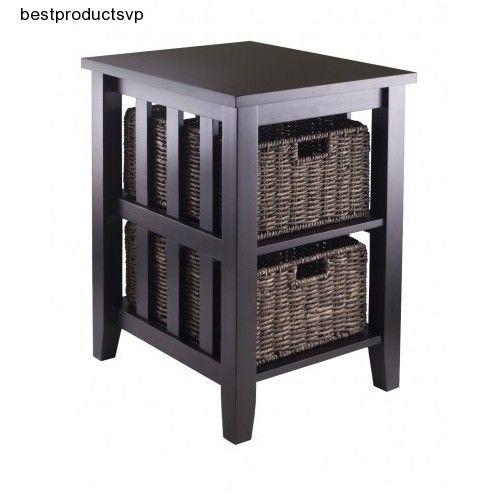 #Ebay #Storage #Side #Table #Wood #End #Transitional #Accent #Rectangle #Folding #Basket #Shelves #Winsome #Transitional