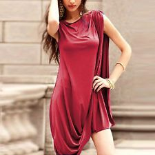 Elegant Celeb Women Asymmetric Wraps Summer Party Evening Mini Dress Plus Size