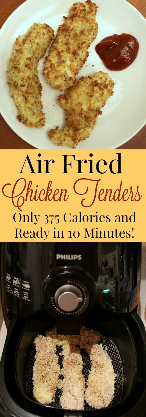 Air fried chicken tenders 375 calories each with 18 grams of carbs, 6 grams of fat and 57 grams of protein