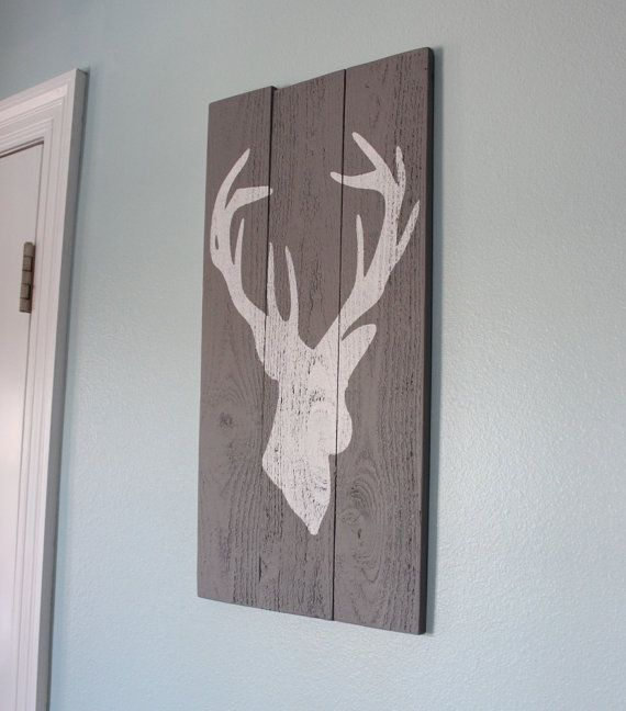 Grey and White Distressed Deer Head Silhouette Wood Sign - Art - Home Decor