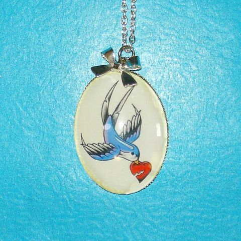Swallow & Broken Heart Tattoo Necklace - Mookie Designs