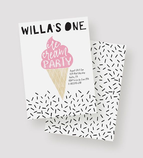 Ice Cream Party Invitation Ice Cream Birthday Party by kandsdotco