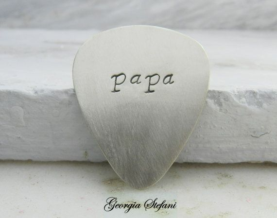 Personalized Nickel Silver Guitar Pick. Papa by dreamcityjewels, €13.00