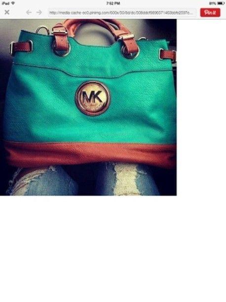 Bag: michael kors bag, turquoise, purse, teal and brown - Wheretoget