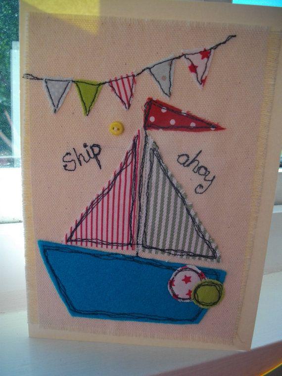 Boys Boat Nautical Birthday Card Handmade by SewSweetbySuzanne, £4.50