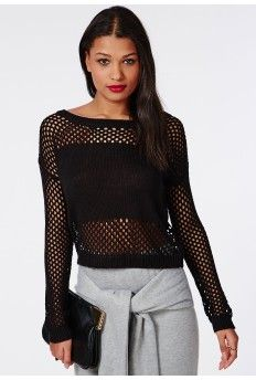 Mesh Knitted Cropped Jumper Black